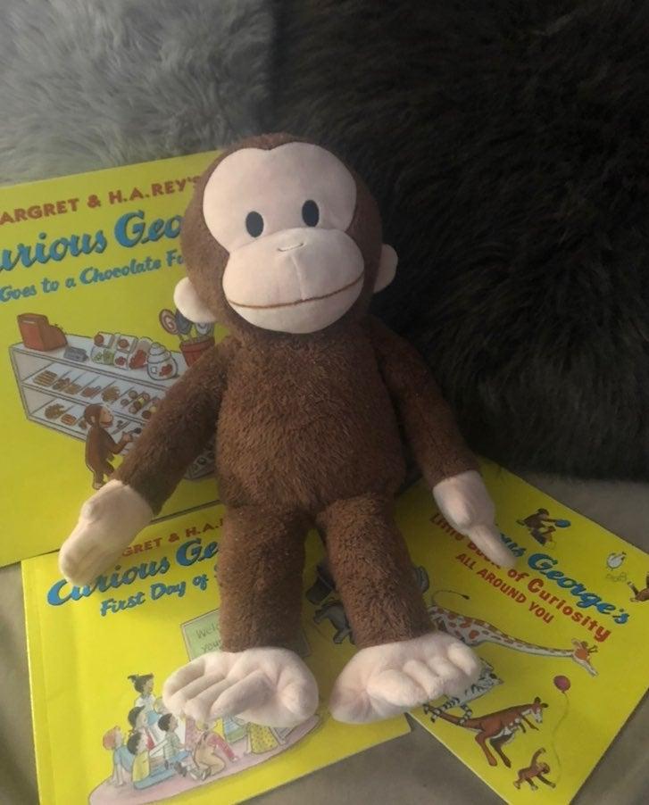 Curious George Plushie and 3 books EUC