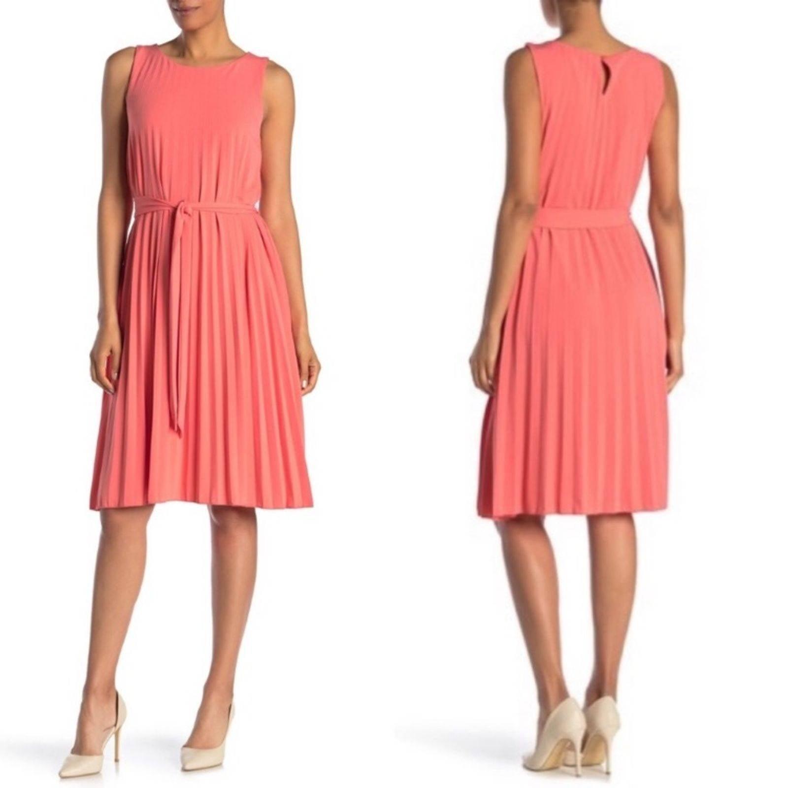 T TAHARI Pleated Crewneck Dress