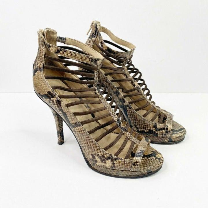 Nine West Ackerley Caged Heel 7.5 Snake