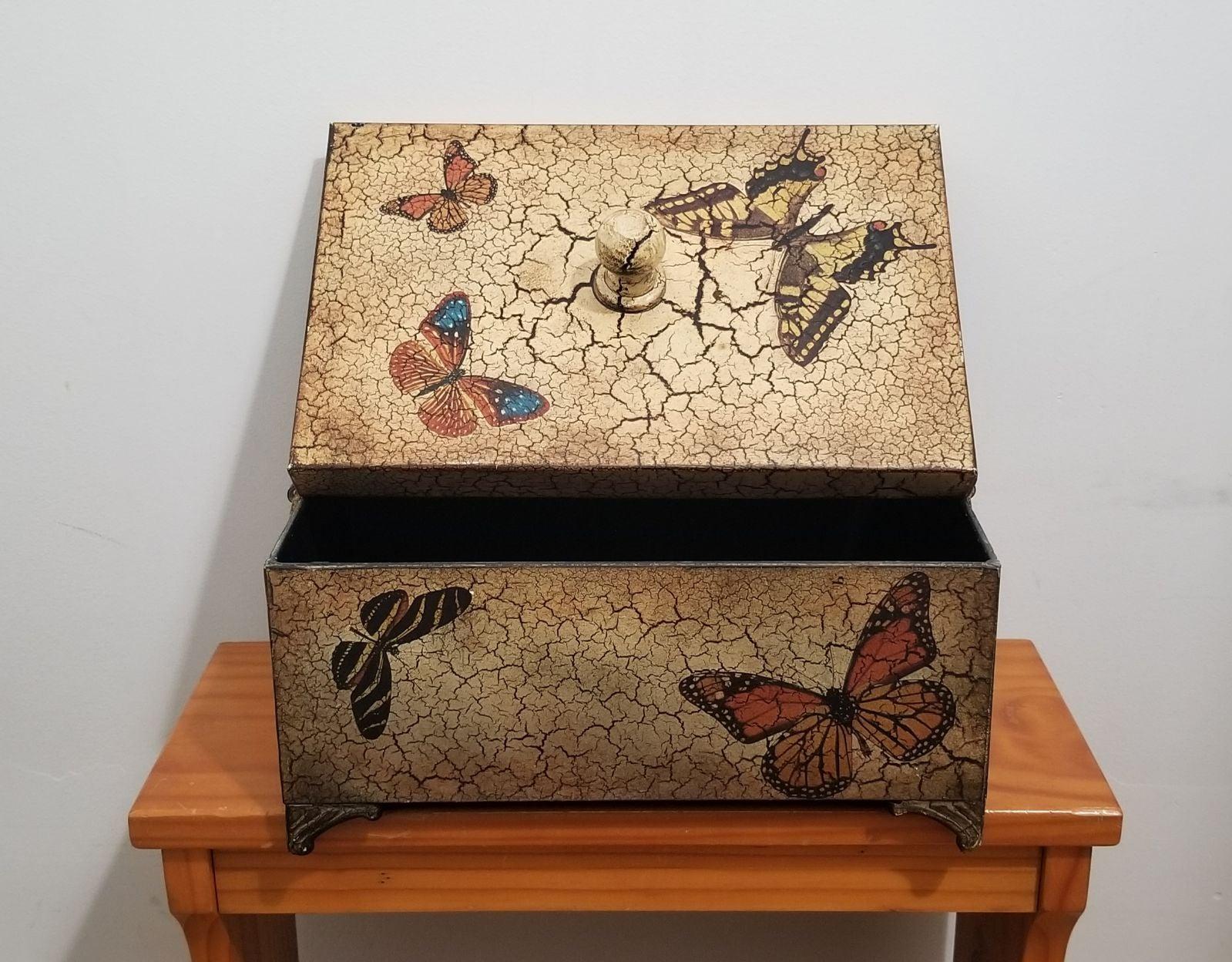 Vintage Butterflies Metal Box