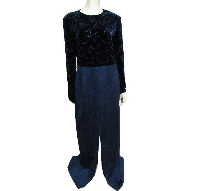 NEW Velvet Beaded Navy Blue Formal Dress
