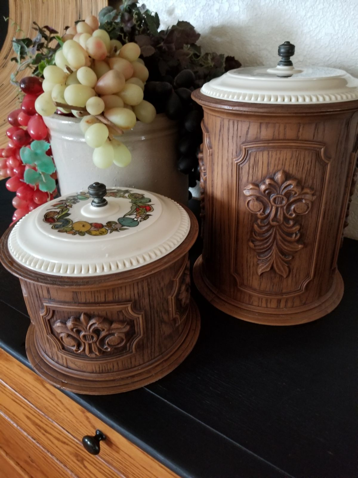 Vintage Faux Wood Canisters