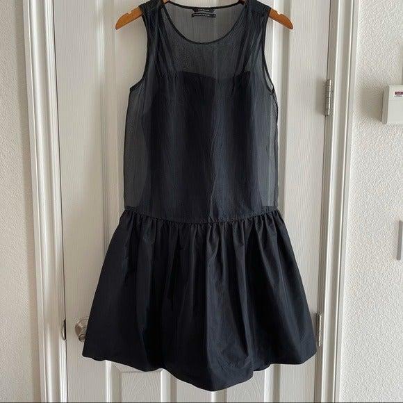 Club Monaco Black Silk Sheer Drop Dress