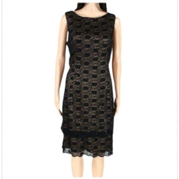 ALEX EVENINGS SEQUIN LACE TIERED DRESS
