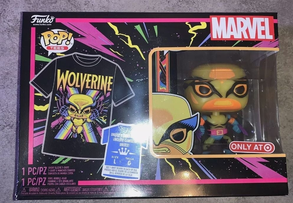 Black Light Wolverine Funko Pop & Shirt