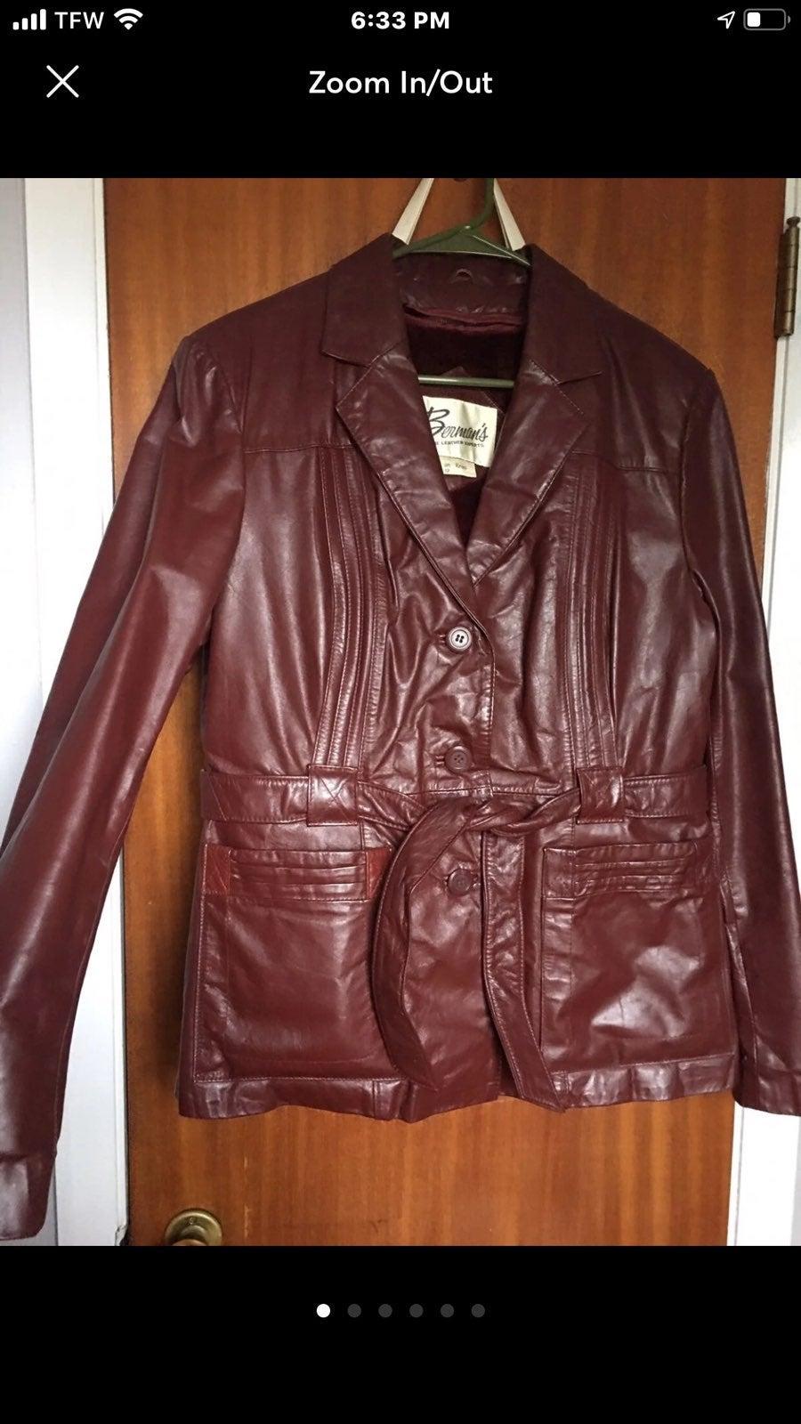 Vintage bermans leather jacket size 12