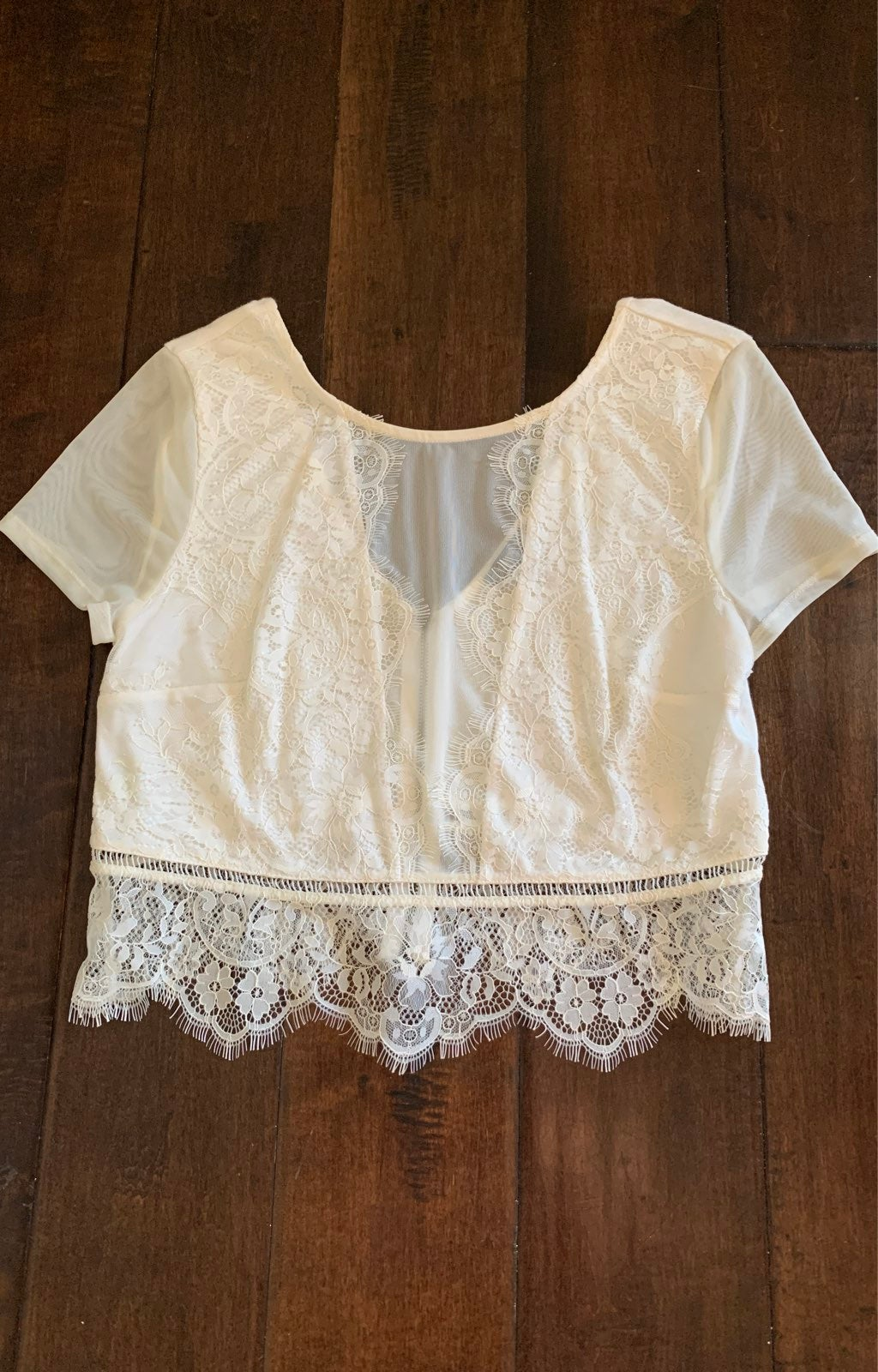 Express mesh and lace crop top