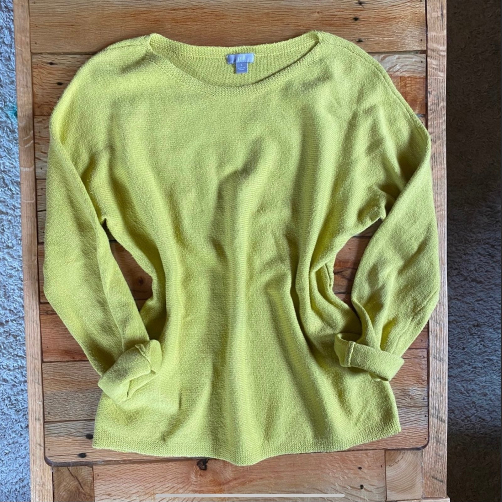 J. Jill Wool Blend Mustard Yellow Sweate