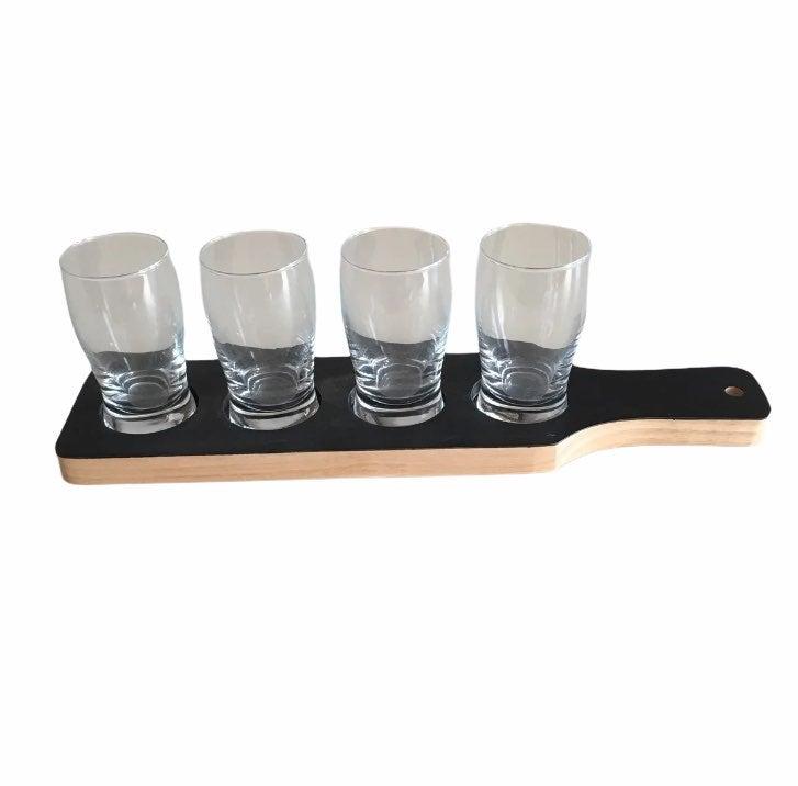 beer flight taster paddle board+glasses