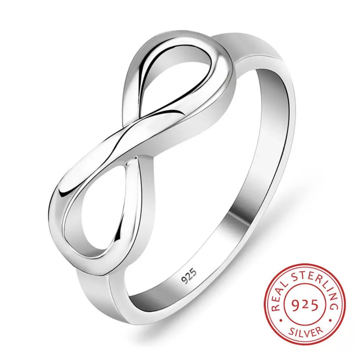 925 INFINTY ETERNITY WEDDING RING SIZE 6