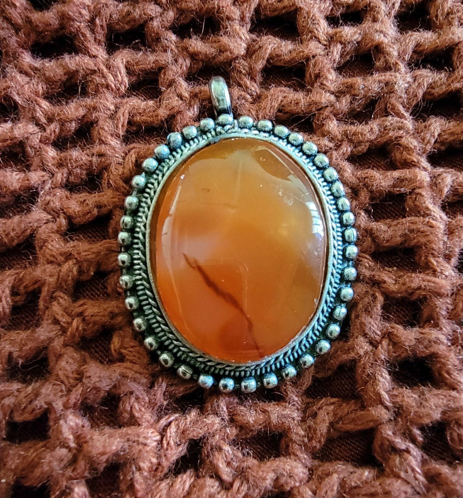 Medallion Carnelian Stone Pendant