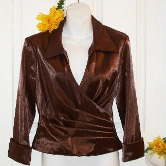 CACHE 6 Bronze Iridescent Surplice Shirt