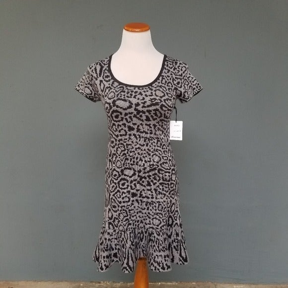Olivaceous Leopard Knit Sweater Dress XS
