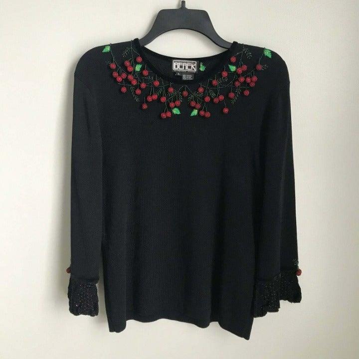 Vtg Berek Black Beaded Cherries Sweater