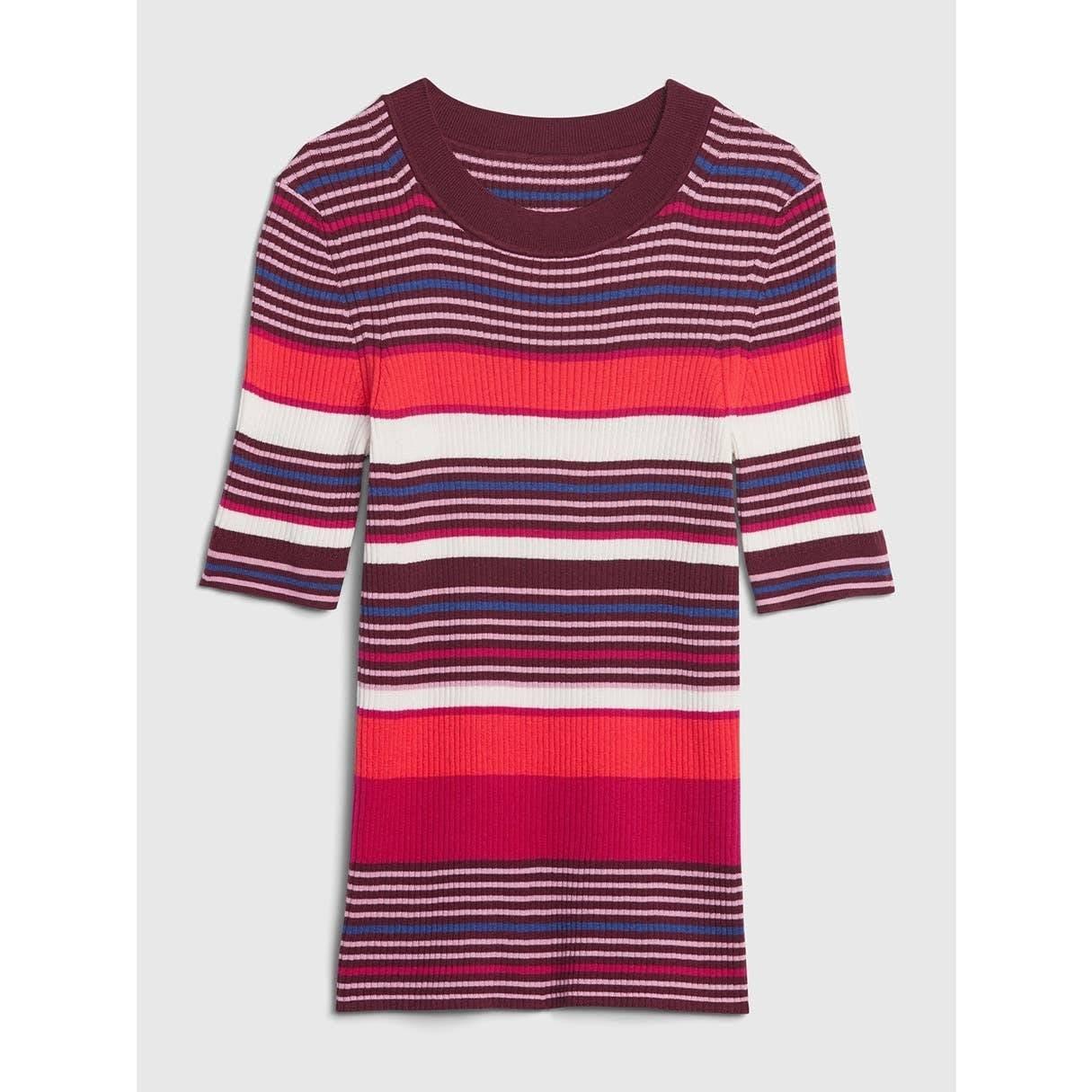 Striped Rib Knit Top T Shirt Thermal
