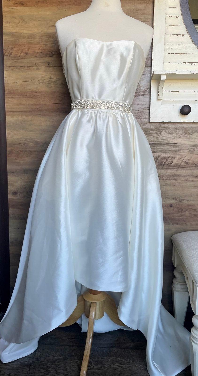 Mikado High-Low Wedding Dress w/ pockets