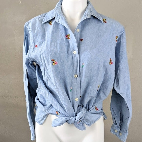 VTG 90's Chambray Tweety Embroidered Top