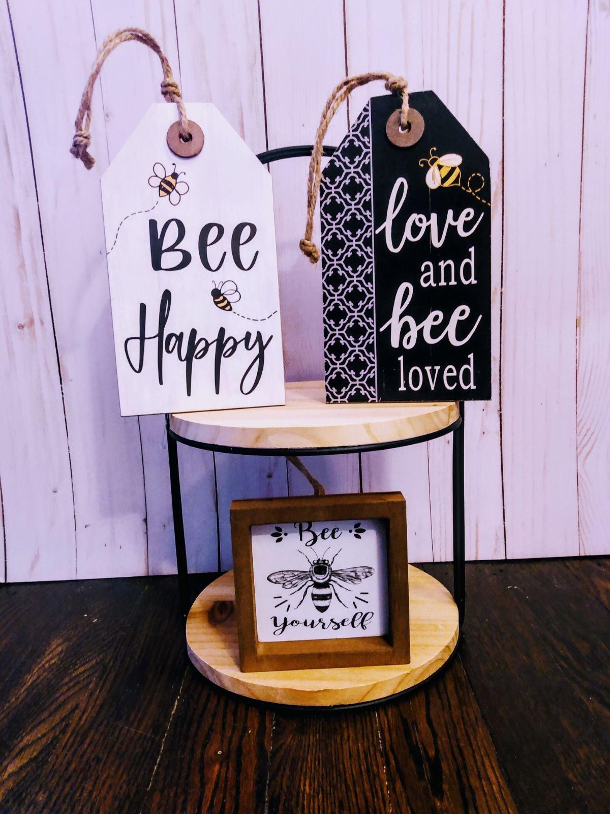 """Farmhouse """"bee"""" tiered tray decor set!"""