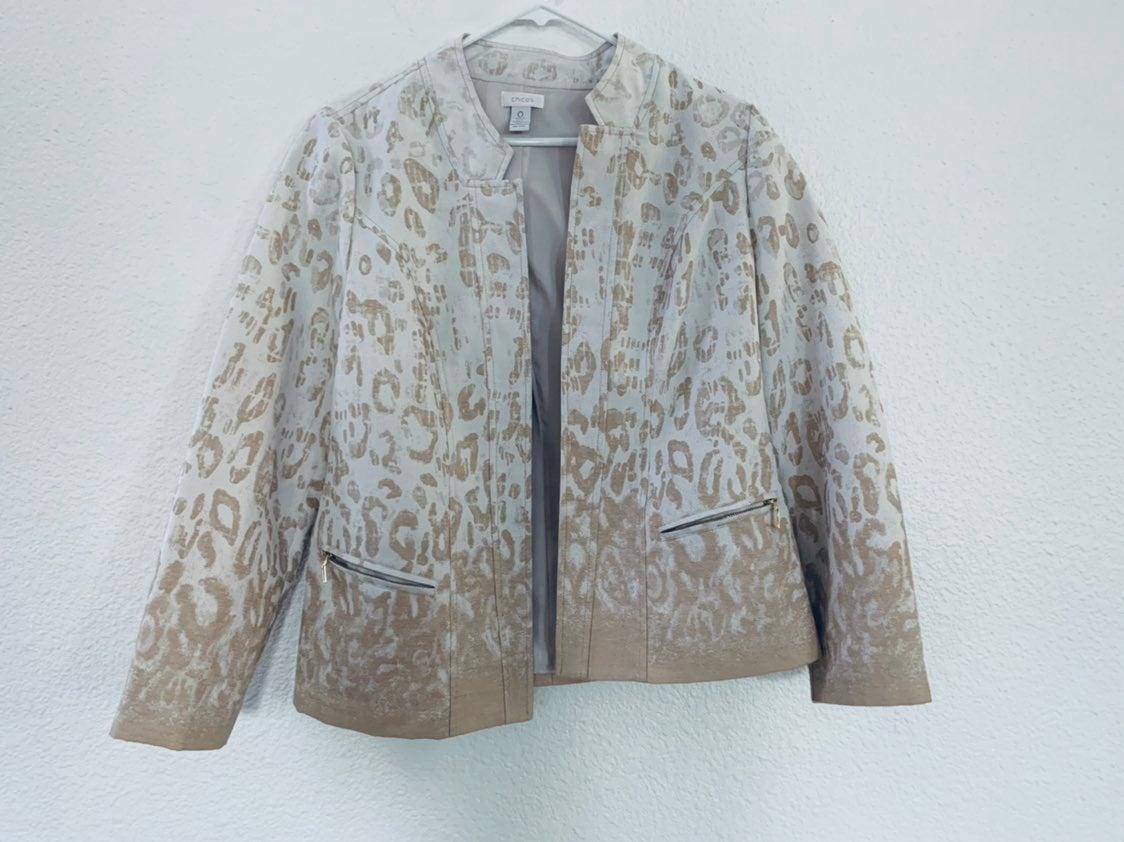 Chicos leopord jacket blazer 0X