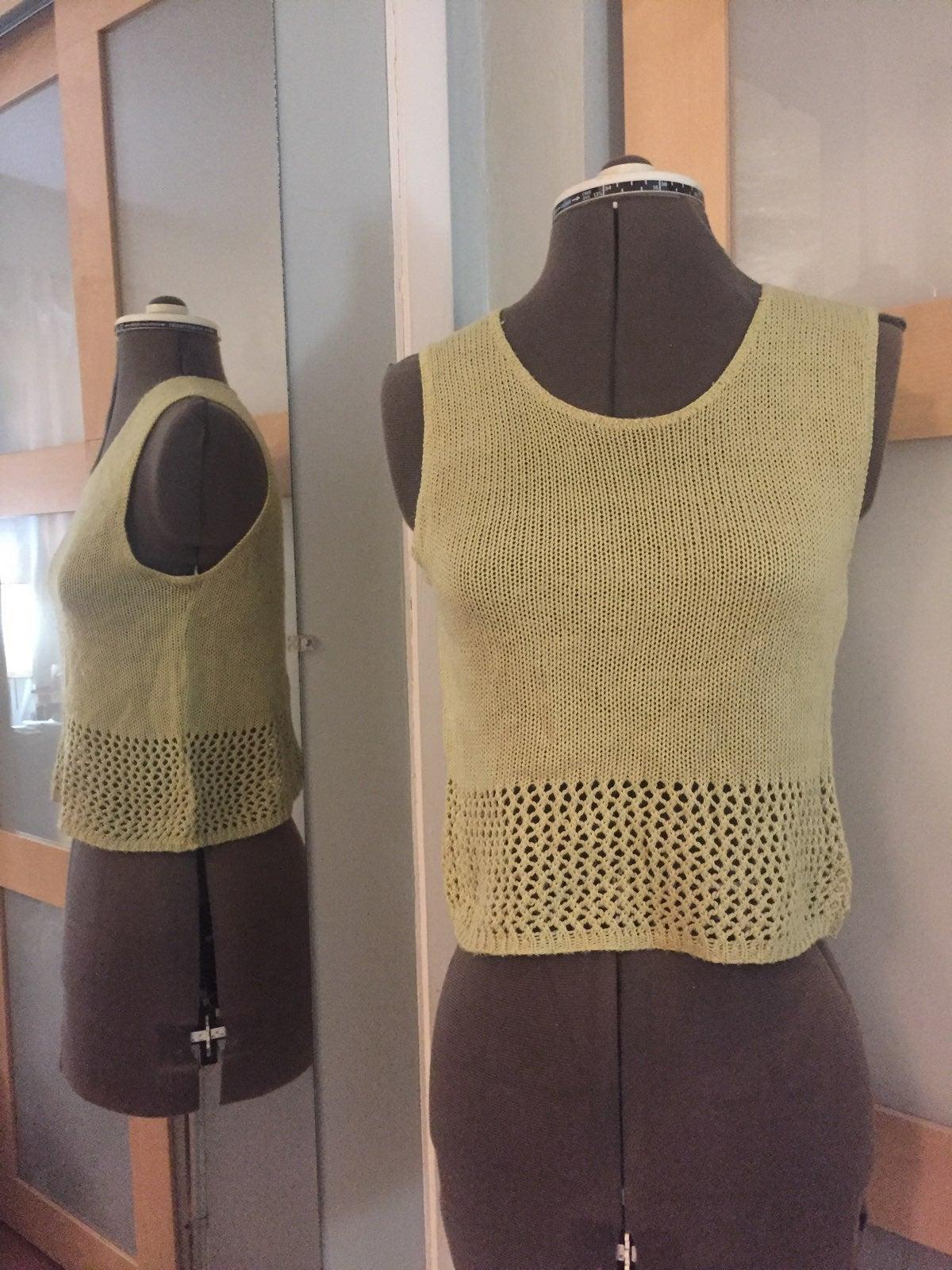 Pea Green Crochet Top, M (jrs)