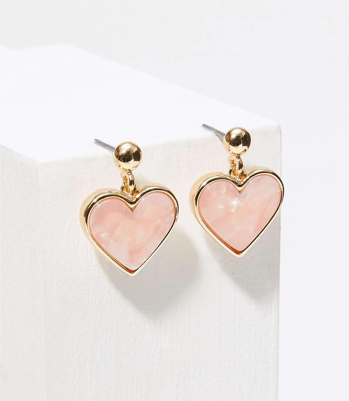 NWT LOFT Pink Heart Resin Drop Earrings