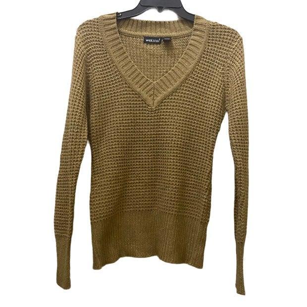 Wet Seal gold metallic v-neck sweater