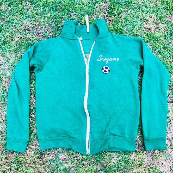 Vintage Jones Made in USA Green Zip Up C