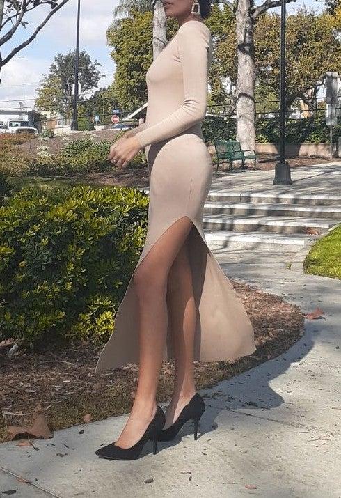 Nude slit long sleeve dress