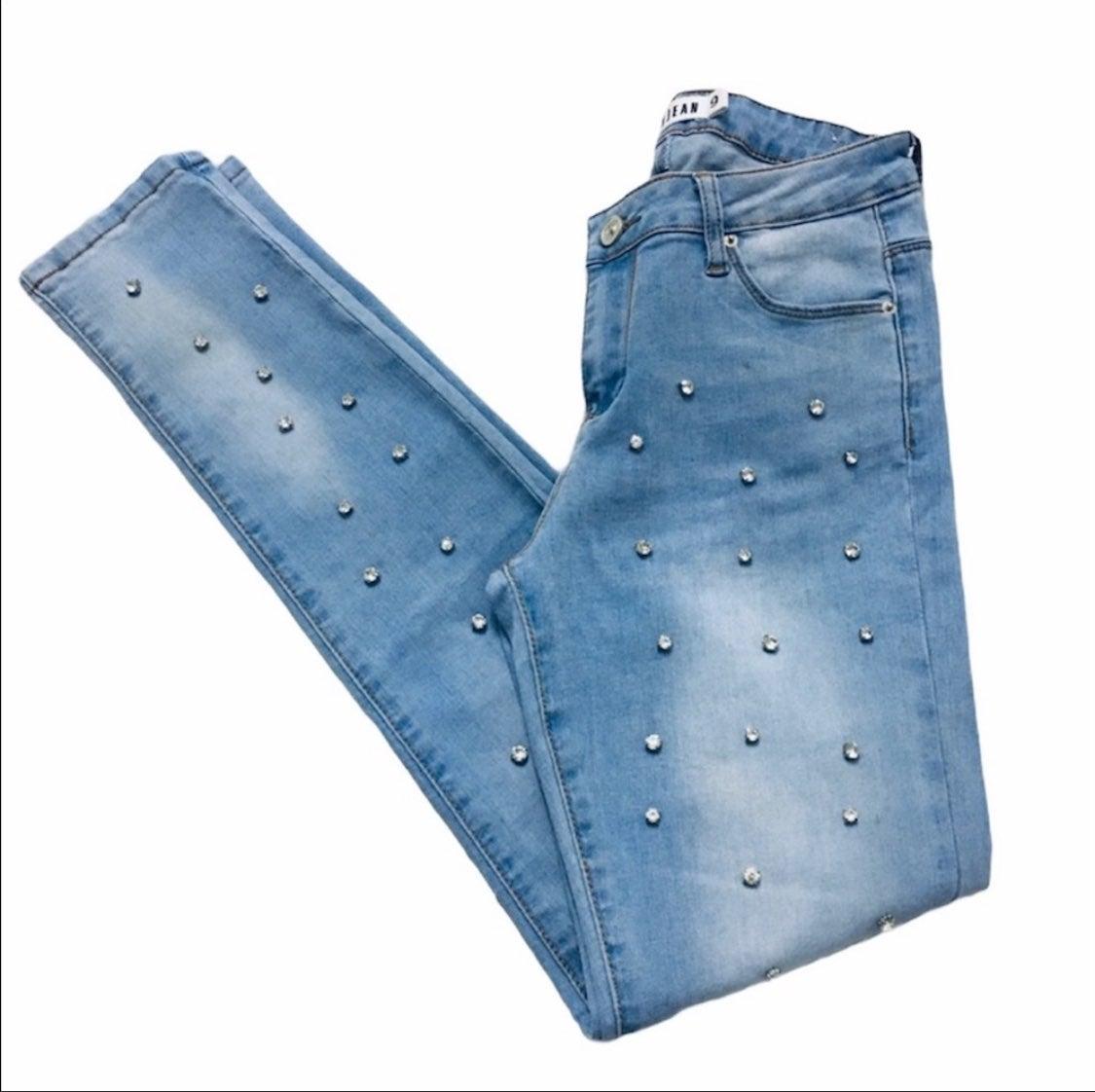 Embellished Light Blue Skinny Jeans 9-28