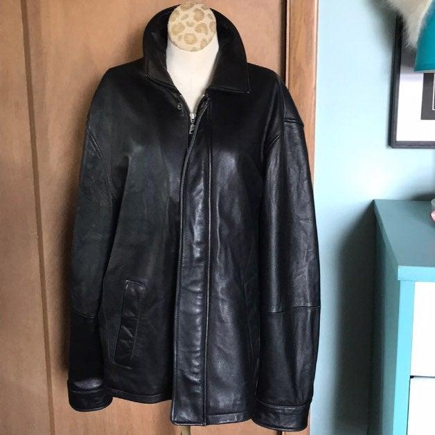 Jos A Bank men's black Leather Jacket M