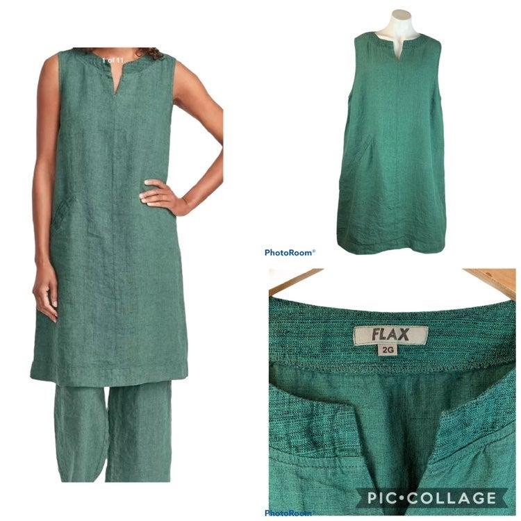 New FLAX Charming Linen Dress 2G 2X Gree