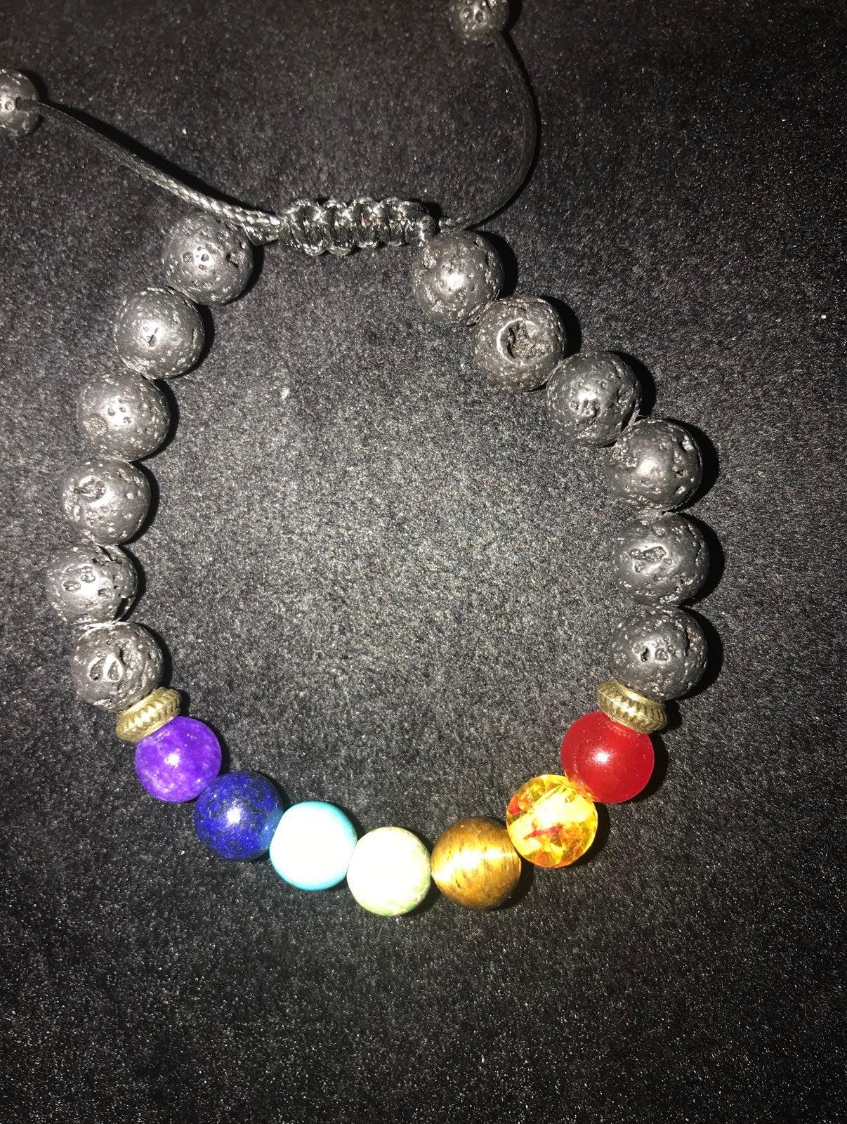 Chakra and lava rock bracelet