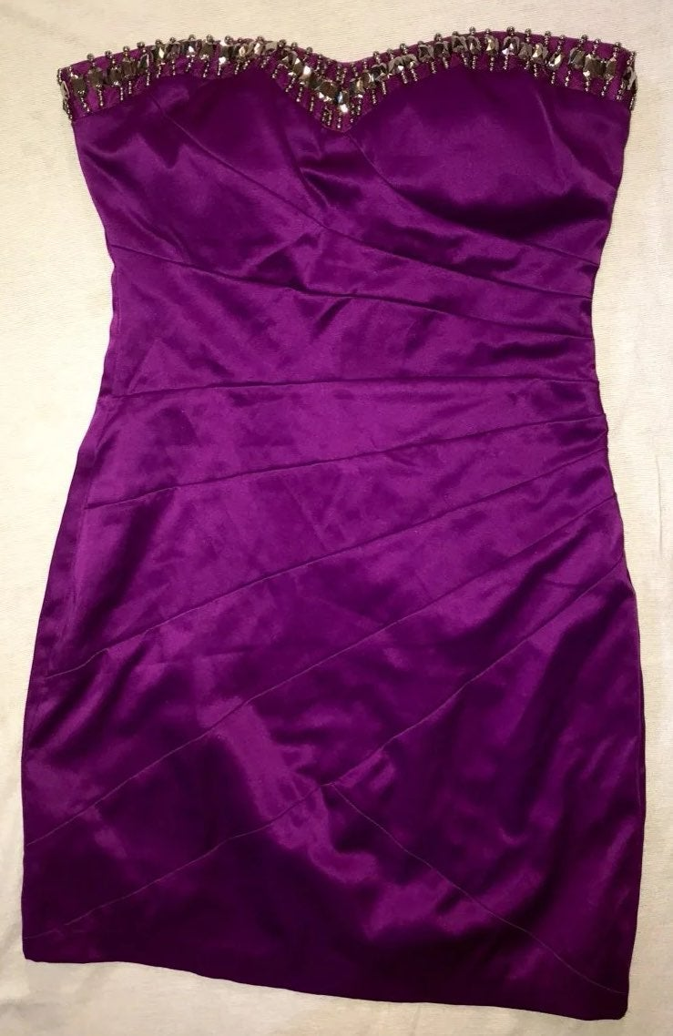 B DARLIN WM 1/2 PURPLE SATIN STRAPL DRES