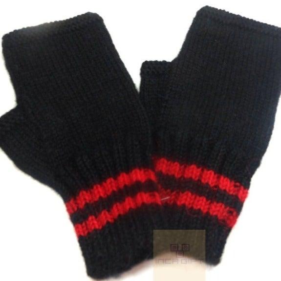 Black-Red Handmade Alpaca Gloves