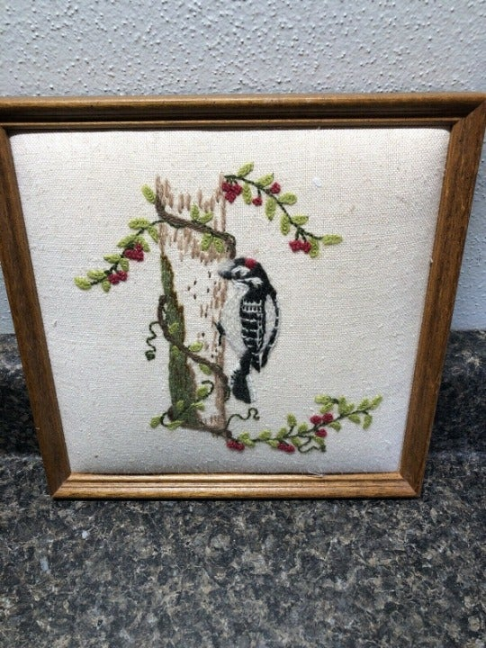 Hand Stitched Picture With Frame Woodpec