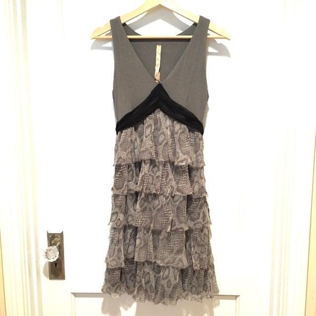 Bailey 44 Gray Silk Snakeskin Dress Sm
