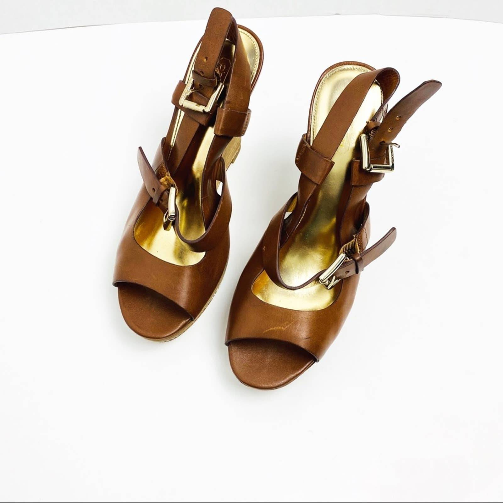 Coach Mary Jo Brown Leather Wedge Sandal