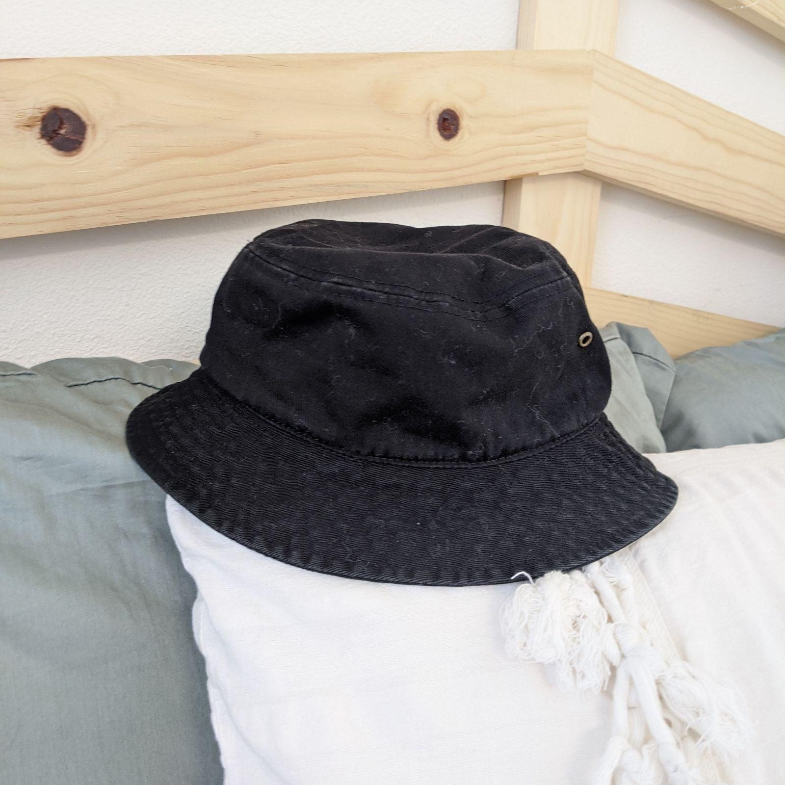 Black cotton bucket hat