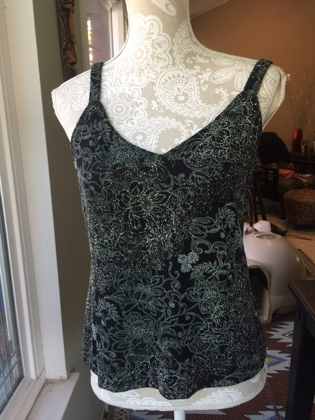 Alex Evenings Silver And Black Cami. S
