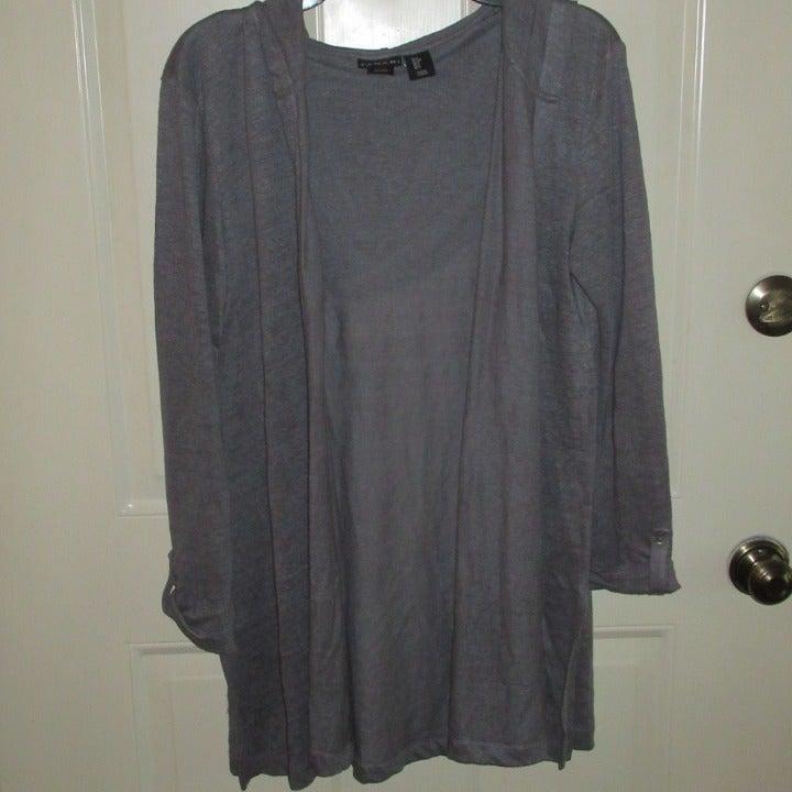 Tahari Linen Hooded Cardigan Long Sleeve