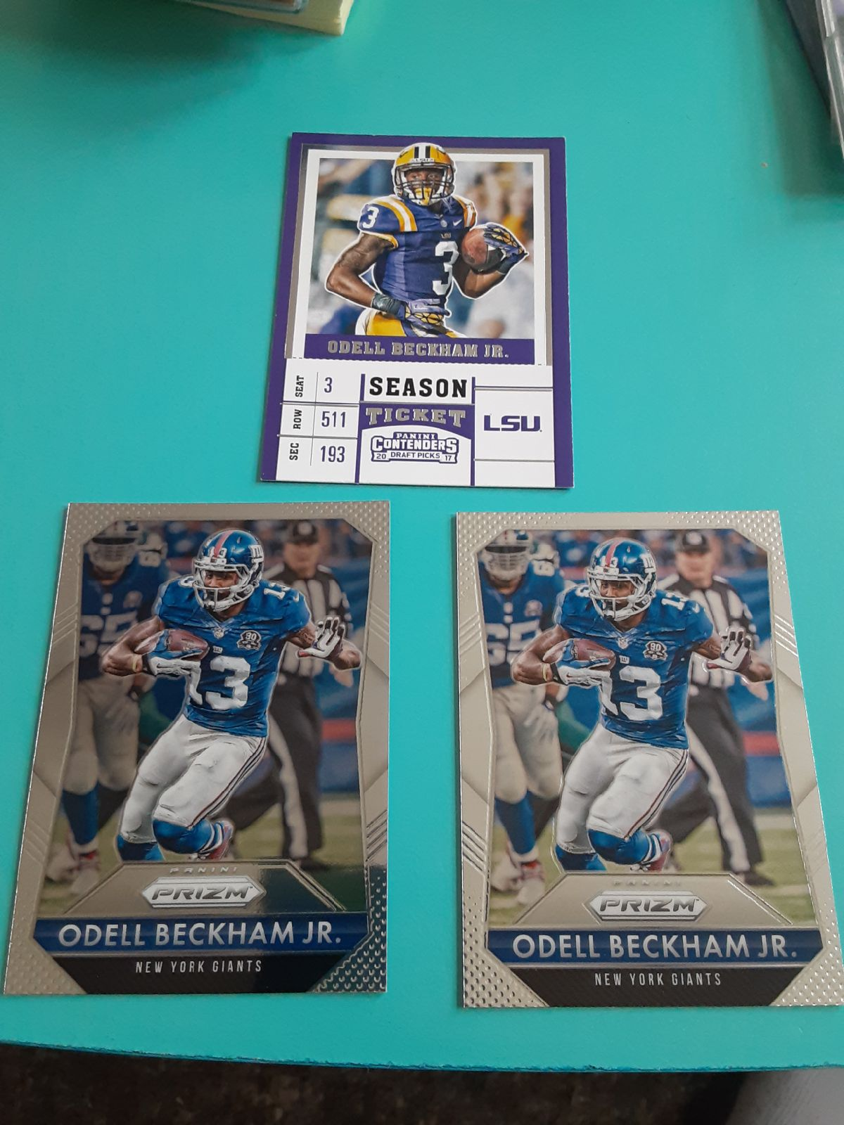 Odell beckham jr 3 card lot lsu