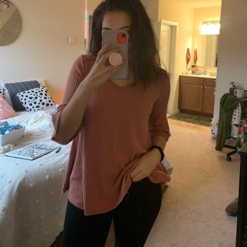 Waffle Knit Pink Top