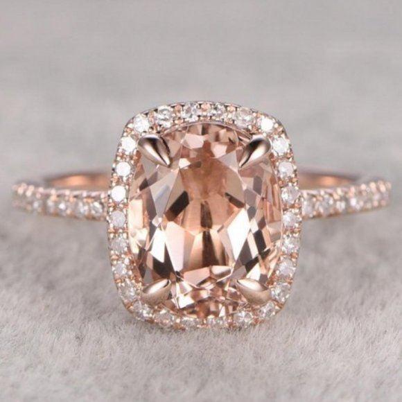 NEW 18K Rose Gold Morganite Diamond Ring