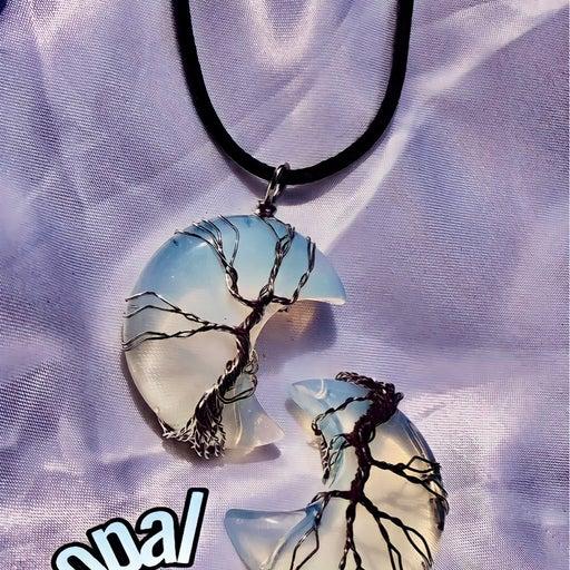 opal crystal tree of life pendant