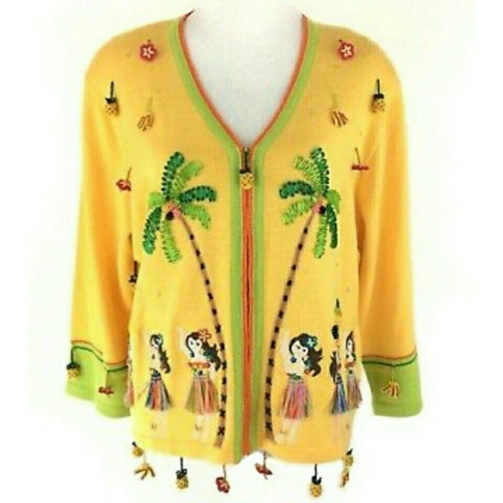Berek Cardigan Hula Palm Tree Beaded  XL
