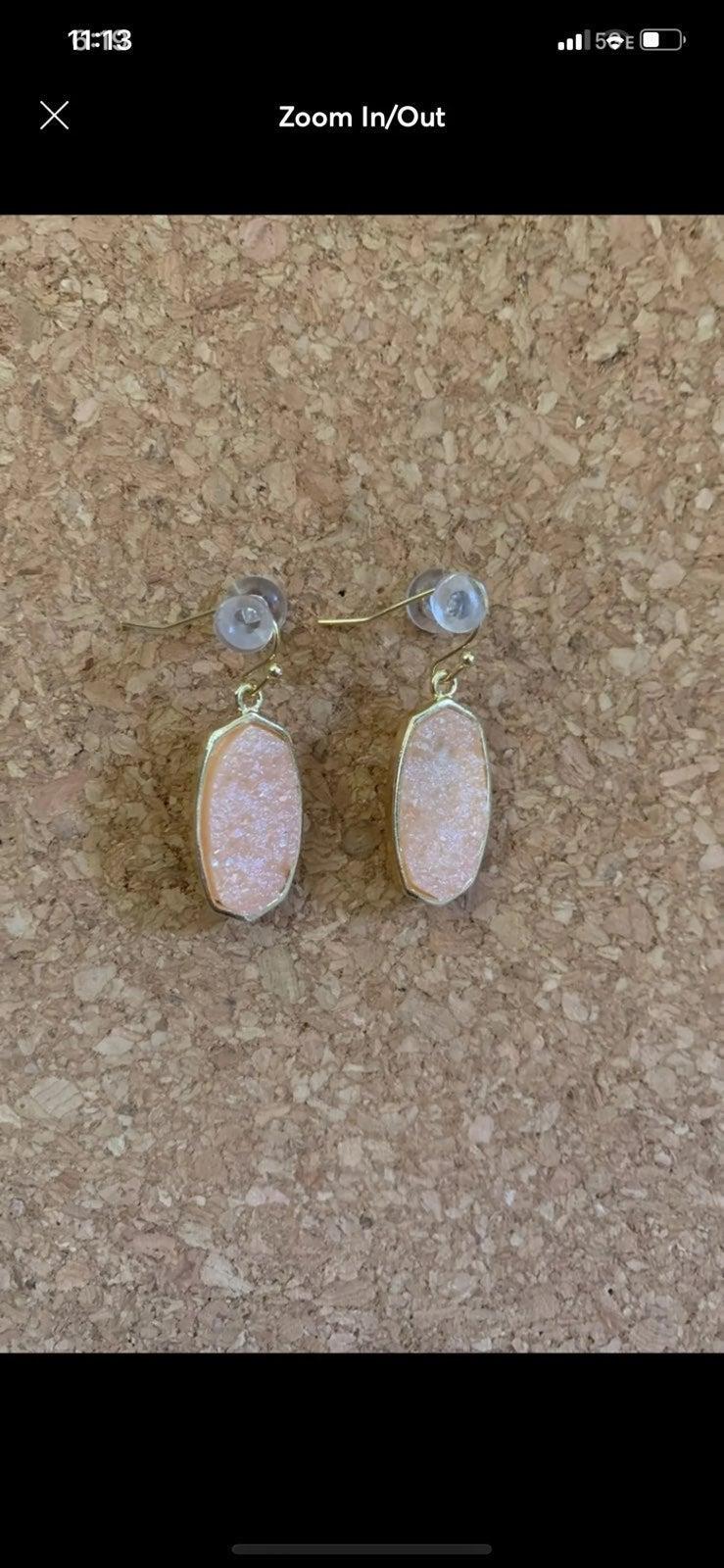 New Pink Druzy Stone Earrings