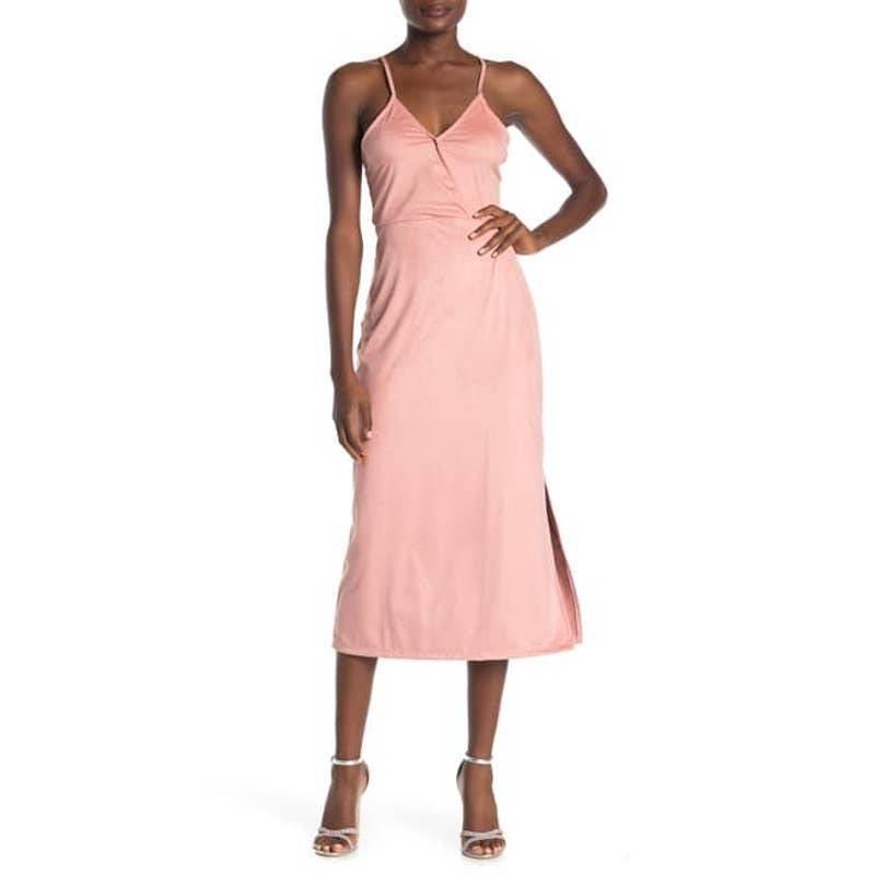 Surplice Faux Suede MIDI Dress pink-S