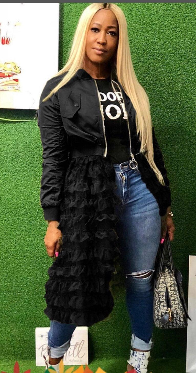 Ladies black flate jacket