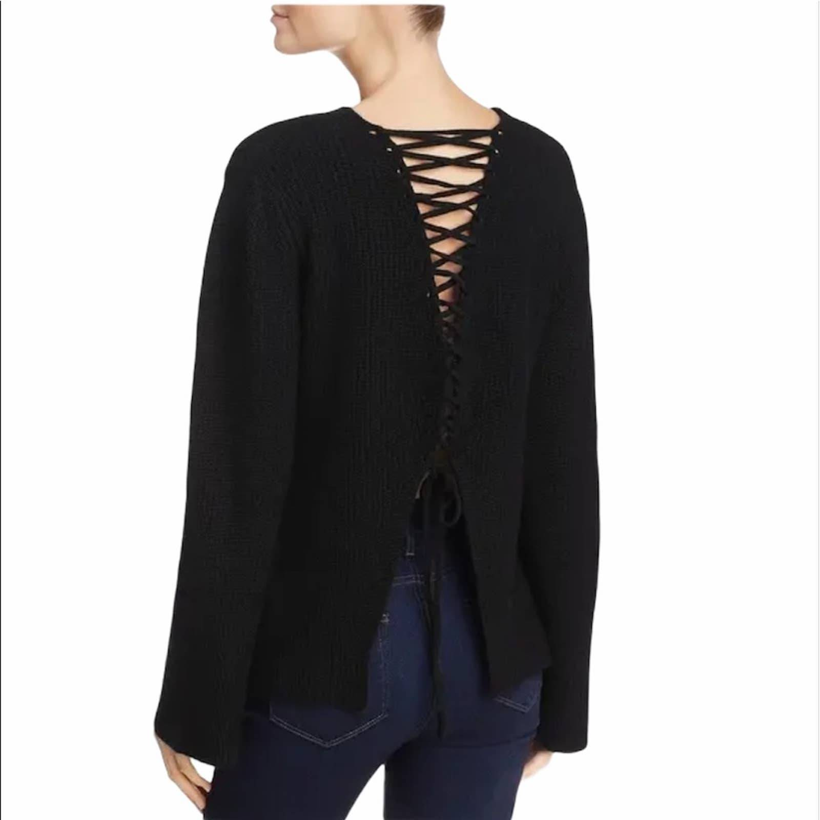 Olivaceous Strappy Lace Up Knit Sweater