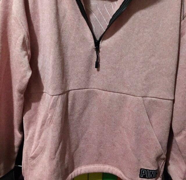 Pink Fleece Half Zip Light Pink Sweater